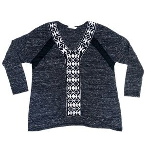 Lush Marbled Grey Aztec Trim 3/4 Sleeve top Med